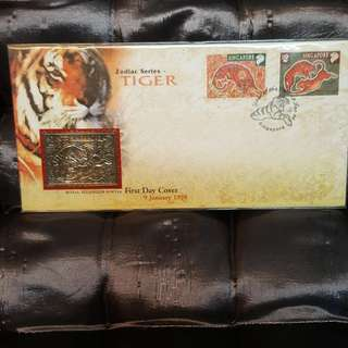 Zodiac series tiger. Pewter first day cover.
