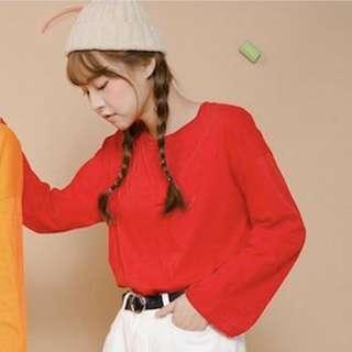 正韓🇰🇷紅色寬袖上衣