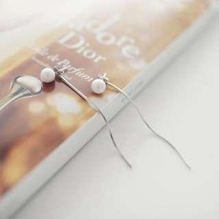 (現貨)簡約珍珠流蘇耳環