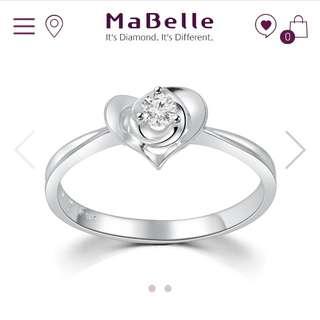 MaBelle 18K/750 白色黃金 鑽石鑲嵌戒指