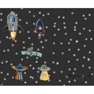 CR Lifestyle 火箭 星球 飛碟 衛星 外太空 宇宙 科幻 刺繡布貼 有背膠 DIY 手作材料 可愛布貼