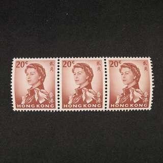 香港1962-70伊莉沙伯第通用郵票20¢三連 (原膠,MNH)