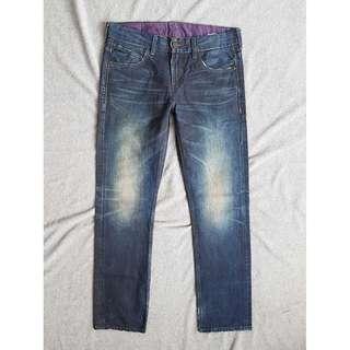 31腰 Levi's 522 Slim 頂級版 汙化水洗刷舊 潮流修身小直筒 牛仔褲 黑標 二手 長褲 休閒褲