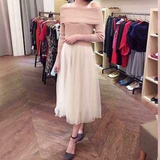 9.5成新-兩件式平口洋裝紗裙