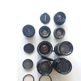一堆 Olympus Om 菲林鏡頭 合OM1、2、4 OM10 20 30 40,加Mount 合無反Sony等機用