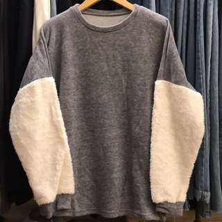 (二手)韓國購買針織拼接絨毛袖上衣