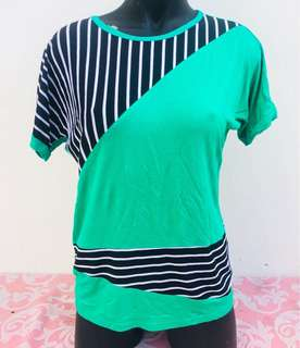 Green Stripes Blouse Top💕