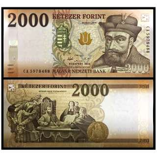 * UNC * 2016 HUNGARY 2,000 FORINT P-204a