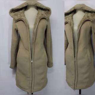 Beige Furry Winter Trench Coat