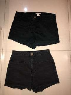 HM & Pull and Bear celana pendek jeans hitam