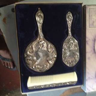 Silver Plated Grooming Set (mirror,brush&comb