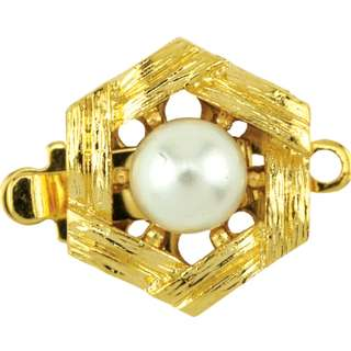 Beadalon Upper Clasp Findings,Hexagon Im. Pearl, Gold Plated