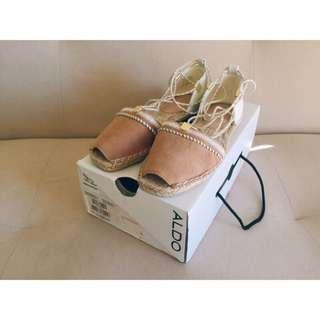 英國ASOS購入正品:ALDO 白色拼接皮革綁帶魚口棉麻涼鞋