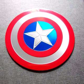 Captain America 3D Shield Metallic Logo Laptop Luggage Decal New