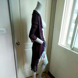 【tʃiʃi】Nougat London滾荷葉邊紫色長袖針織長版罩衫外套1號