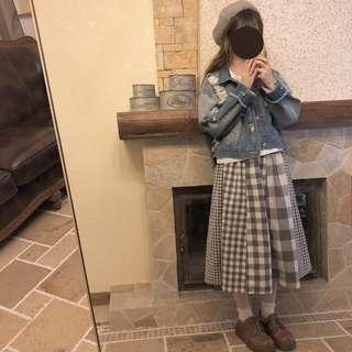 【現貨】日系灰白格子拼接棉麻半身裙 古著 古着