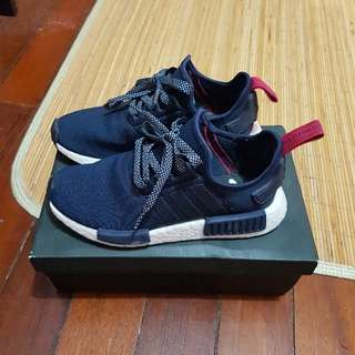 NMD R1 Navy with Fuschia Red Tab