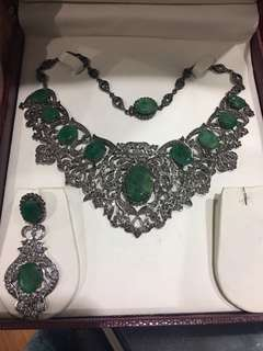 Antique Diamond Emerald and Silver Necklace and Earrings