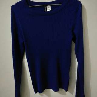 H&M Knit Sweater Biru baru