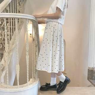 【現貨】日系白色點點半身裙 古著 古着