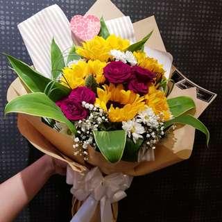 Sunflower with Spray Rose Bouquet