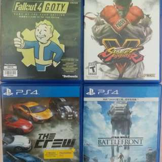 Ps4 game: fallout 4, street fighter, the crew, battlefront