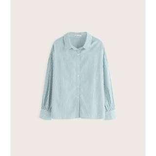 Pazzo 隨性自在感膨膨袖條紋襯衫  此款版型寬鬆