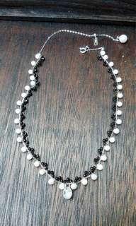 韓國訂單貨  日本珠配切割安力士純銀頸鏈 純銀電鍍k金 全手工製作 非常考心思