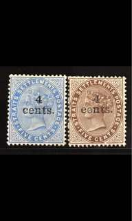 Straits stamps Queen Victoria overprints 2v Mounted Mint