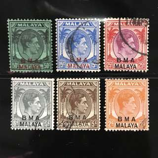 Straits BMA stamps 6v lot