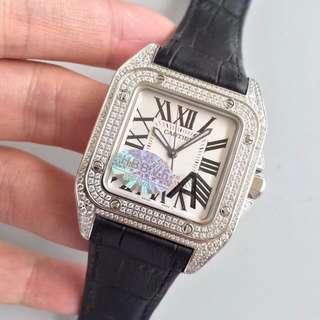 Cartier SANTOS 100 系列 山度士 滿天星 鑲鑽 女錶33mm V6工廠 面交 新版