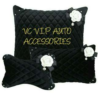 Crystal headrest & steering wheel cover & pillow & seat belt cover with flower emblem set