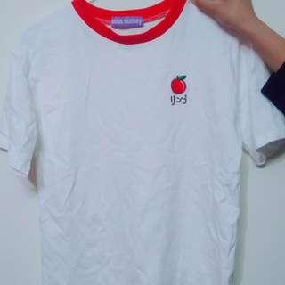 🚚 實拍正韓可愛蘋果刺繡T恤
