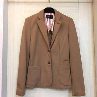 🚚 MOMA時尚駝色彈性料合身西裝外套-36(S-小M)