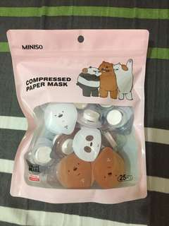 We Bare Bears Compressed Paper Mask