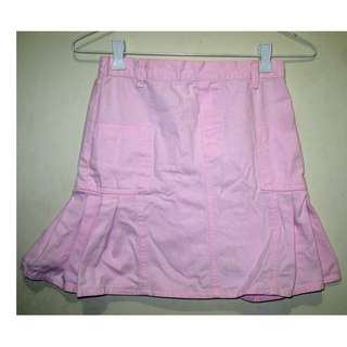 Pink Pleated Denim Skirt for Girls