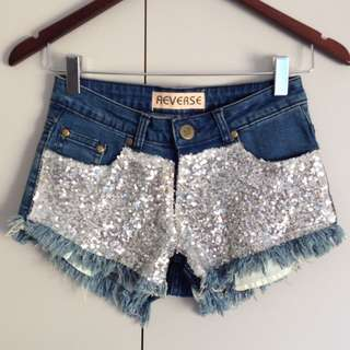 Glittery Disco Denim Shorts