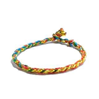 Handmade Chinese  Seven Colorful Colored Rope Gold String  Erawan Shrine  Knot Bracelet (七彩四面佛八股编红绳手链)