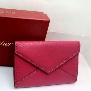 CARTIER 桃紅色信封式名片夾
