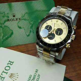 Jam Tangan Pria Rolex Daytona Plat Kuning Automatic Grade Super AAA Premium