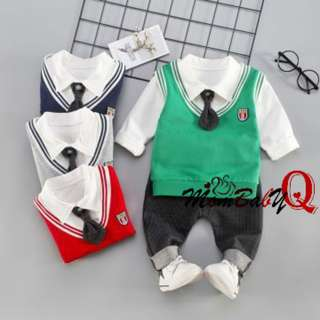 3-piece Long-sleeve Vest Style Tie Decor Top and Pants