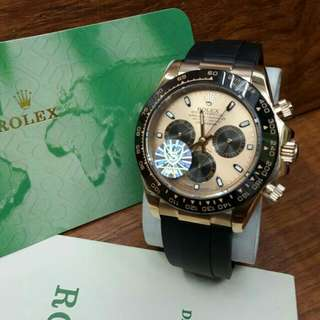 Jam Tangan Pria Rolex Daytona Rosegold Automatic Rubber Grade Premium