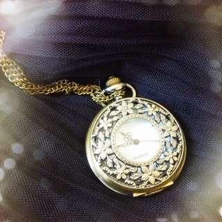 🥀復古古銅雕花懷錶鏈錶