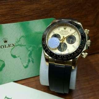 Jam Tangan Pria Rolex Daytona Gold Automatic Rubber Grade Premium