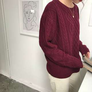 Maroon Knitted Sweater