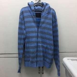 Unisex Forever 21 Men blue stripe hoodie / jacket