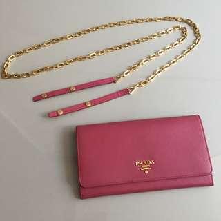 prada wallet & crossbody gold pink color