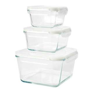 Food container, set of 3, clear glass