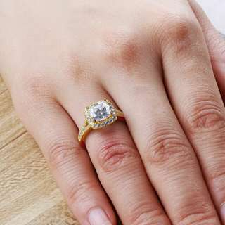 Vintage design 10K Solid Yellow Gold Women Wedding Ring 2.25 ct Princess Cut Sona Simulated Diamond Halo Baguette Female Wedding Ring
