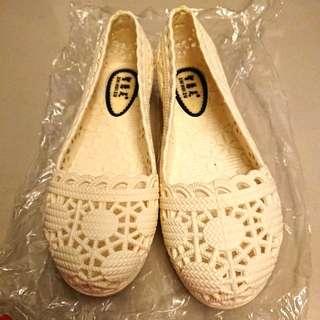 雨鞋 娃娃鞋 米白色